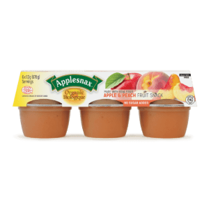 Applesnax Organic Apple and Peach Applesauce Cups